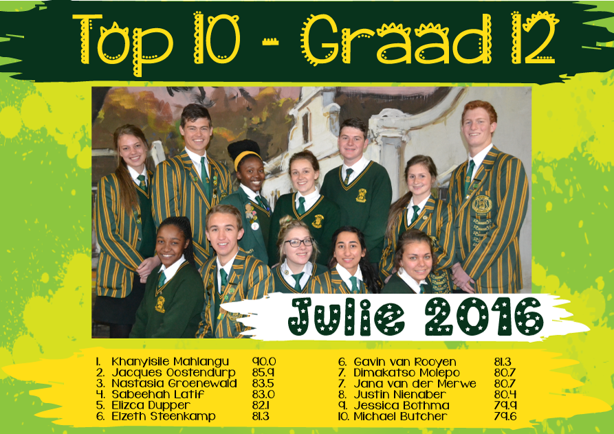 Top 10 Julie 2016 Gr12
