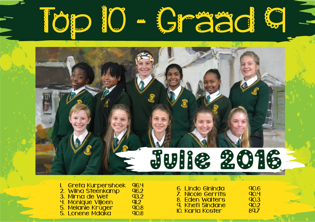 Top 10 Julie 2016 Gr9